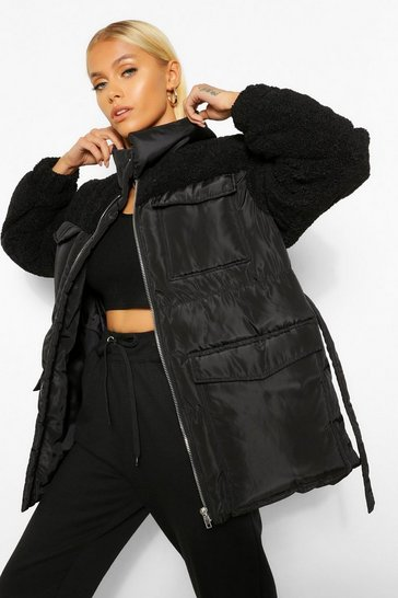 Black Teddy Faux Fur Mix Belted Puffer