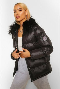 Black Mongolian Faux Fur Trim Sporty Puffer