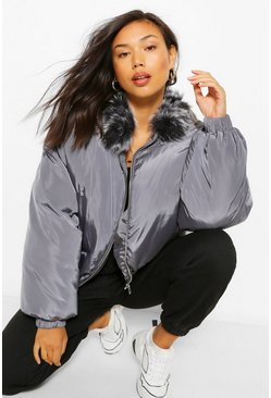 Charcoal grey Faux Fur Collar Puffer Jacket