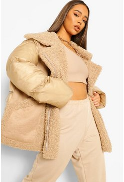 Gold Fabric Mix Suedette Panel Puffer Jacket