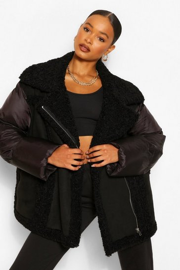 Black Fabric Mix Suedette Panel Puffer Jacket