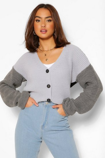 Grey Colour Block Cardigan