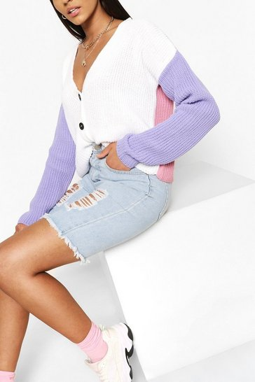 Lilac purple Colour Block Cardigan