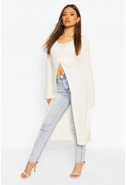 Cream white Button Front Midi Cardigan