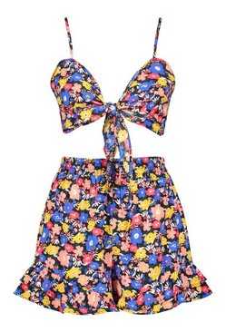 Black Floral Tie Front Bralet & Shorts Co-ord