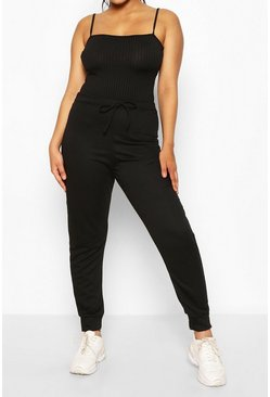 Black Strappy Ribbed Bodysuit & Ribbed Jogger Two-Piece