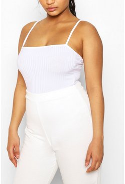 White Strappy Ribbed Bodysuit & Ribbed Jogger Co-ord