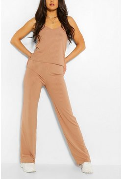 Ribbed Scoop Neck Top & Wide Leg Trouser Co-ord, Camel