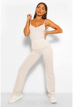 Ecru white Ribbed Scoop Neck Top & Wide Leg Trouser Co-ord
