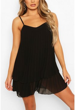 Black Strappy Double Layer Pleated Swing Dress