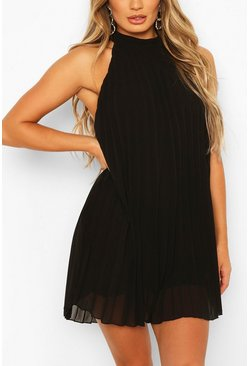 Black High Neck Sleeveless Pleated Swing Dress