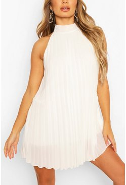 White High Neck Sleeveless Pleated Swing Dress