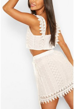 White vit Brodeire Lace Tie Back Top & Wrap Mini Skirt Co-ord