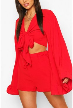 Red Flare Sleeve Top & Frill Hem Shorts Co-ord