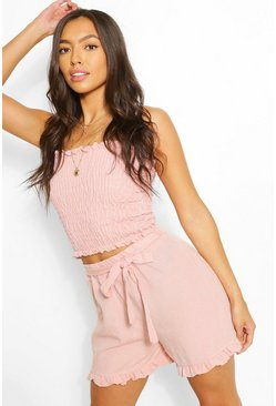 Rose Linen Look Shirred Top & Frill Hem Shorts Co-ord