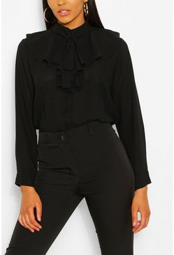 Black Woven Ruffle Pussy Bow Blouse