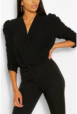 Black Woven Ruched Sleeve Blouse