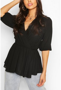 Zwart black Geweven Peplum Blouse Met Ruches