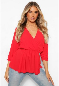 Rood red Geweven Peplum Blouse Met Ruches