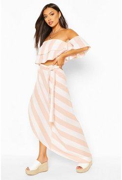 White Stripe Linen Look Bardot Top & Midi Skirt Co-ord