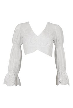 White Broderie Ruched Sleeve Crop Top