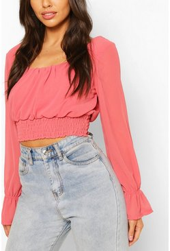 Coral pink Woven Square Neck Shirred Top