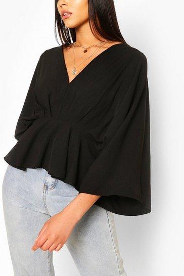 Black Woven Pleated Kimono Sleeve Top