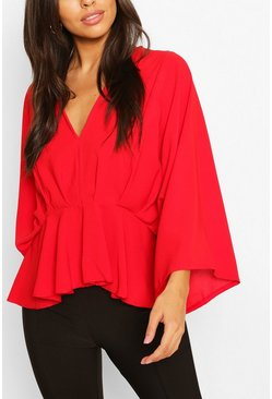Red Woven Pleated Kimono Sleeve Top