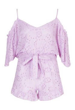 Lilac Broderie Lace Cold Shoulder Belted Playsuit