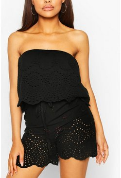 Black Broderie Lace Bardot Overlayer Playsuit