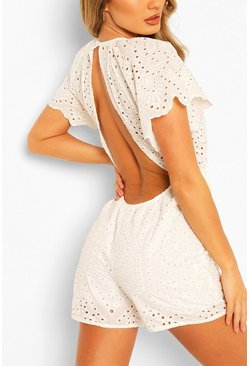 White Broderie Lace Open Back Playsuit