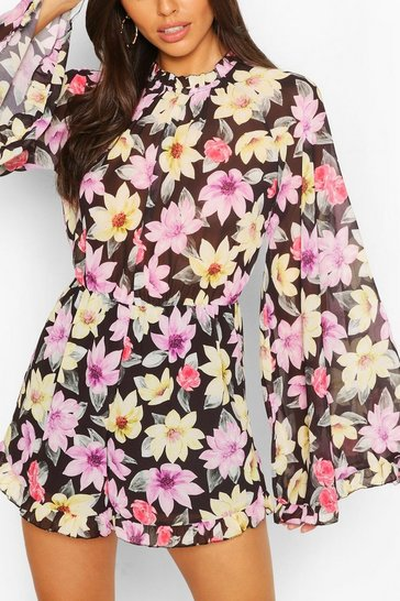 Black Floral Chiffon Flare Sleeve Ruffle Playsuit