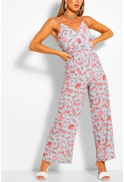 Blue Paisley Print Wrap Strappy Jumpsuit