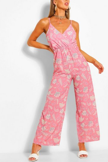 Pink Paisley Print Wrap Strappy Jumpsuit