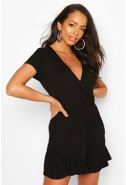 Black Wrap Front Ruffle Hem Playsuit