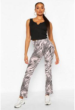 Pink Animal Print Flared Rib Legging