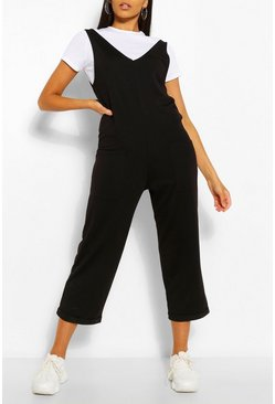 Black Soft Loopback Slouch Dungaree With Pockets