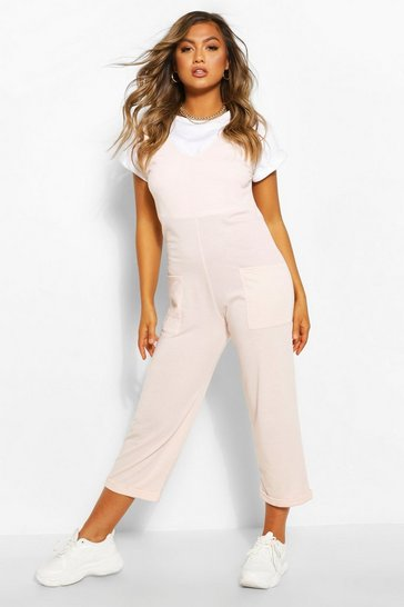 Crystal pink pink Soft Loopback Slouch Dungaree With Pockets