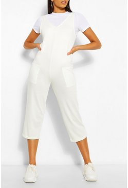 White Soft Loopback Slouch Dungaree With Pockets