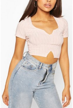 Pink Recycled Rib Notch Front Crop Top