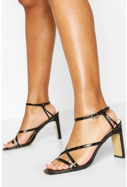 Black Strappy Flat Heel Sandals
