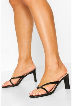 Black Toe Post Low Flat Heel Sandals