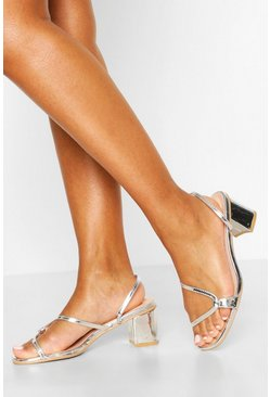 Silver Curved Strap Low Block Heel Mules