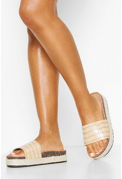 Croc Single Strap Footbed Sliders, Nude Телесный