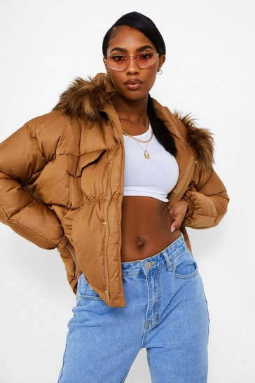 Toffee beige Coated Satin Pocket Detail Faux Fur Trim Puffer