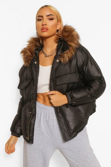 Black Coated Satin Pocket Detail Faux Fur Trim Puffer