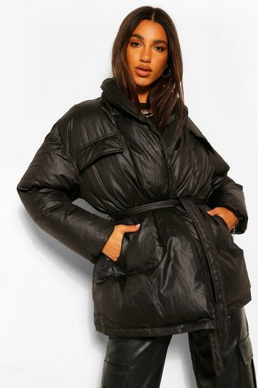 Black Coated Satin Wrap Detail Belted Puffer