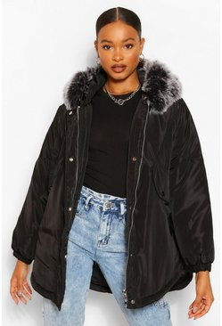 Black Oversized Panel Detail Parka