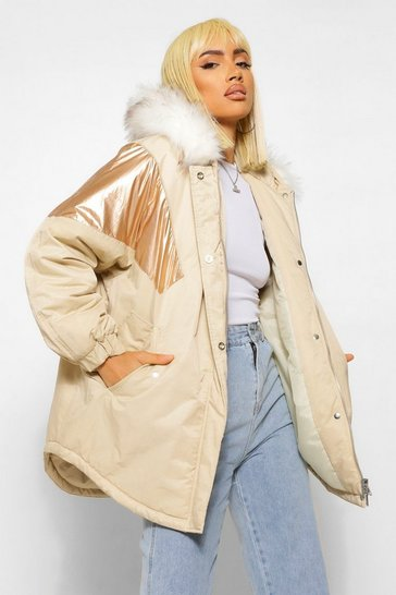 Gold metallic Fabric Panelled Faux Fur Trim Parka
