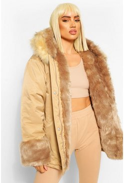 Gold metallic Monochrome Parka Jas Met Faux Fur Zoom